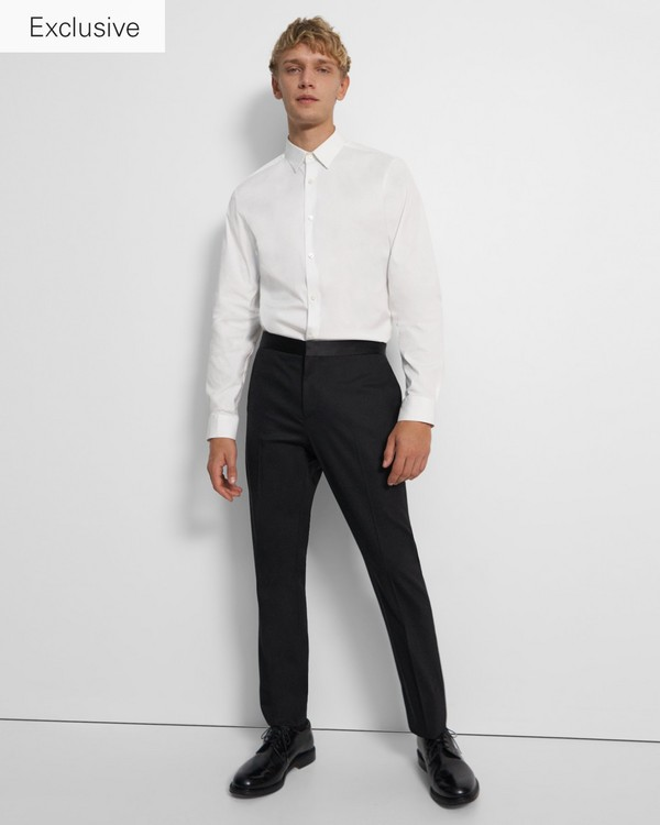 띠어리 맨 바지 Theory Mayer Tuxedo Pant in Stretch Wool,BLACK