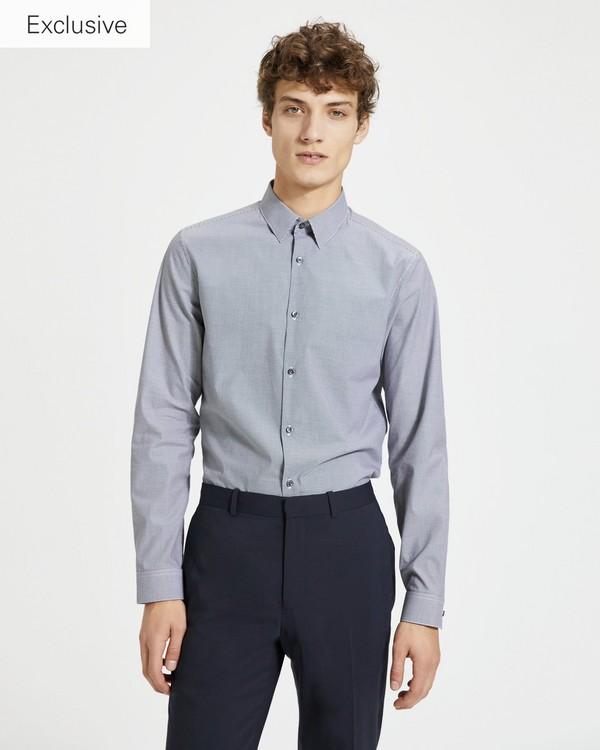 610b2ceeccde2 WHITE. NEW BLUE. Gingham-Print Cedrick Shirt