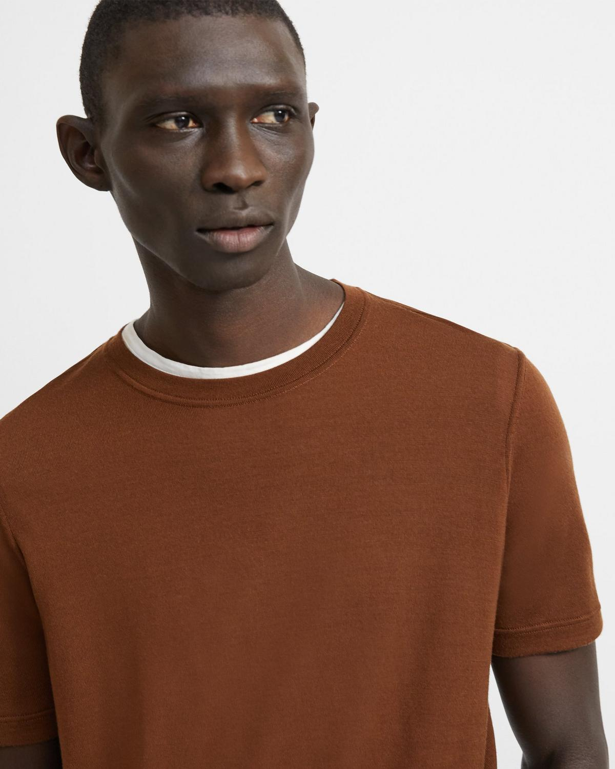 Regal Wool Short-Sleeve Crewneck