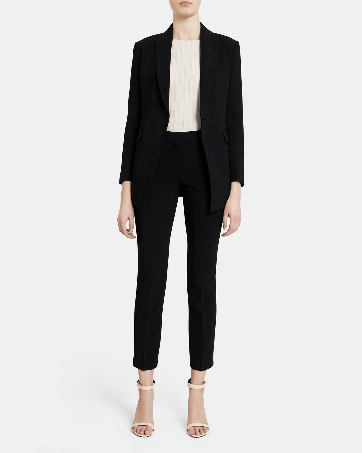 Single-Breasted Blazer in Crepe