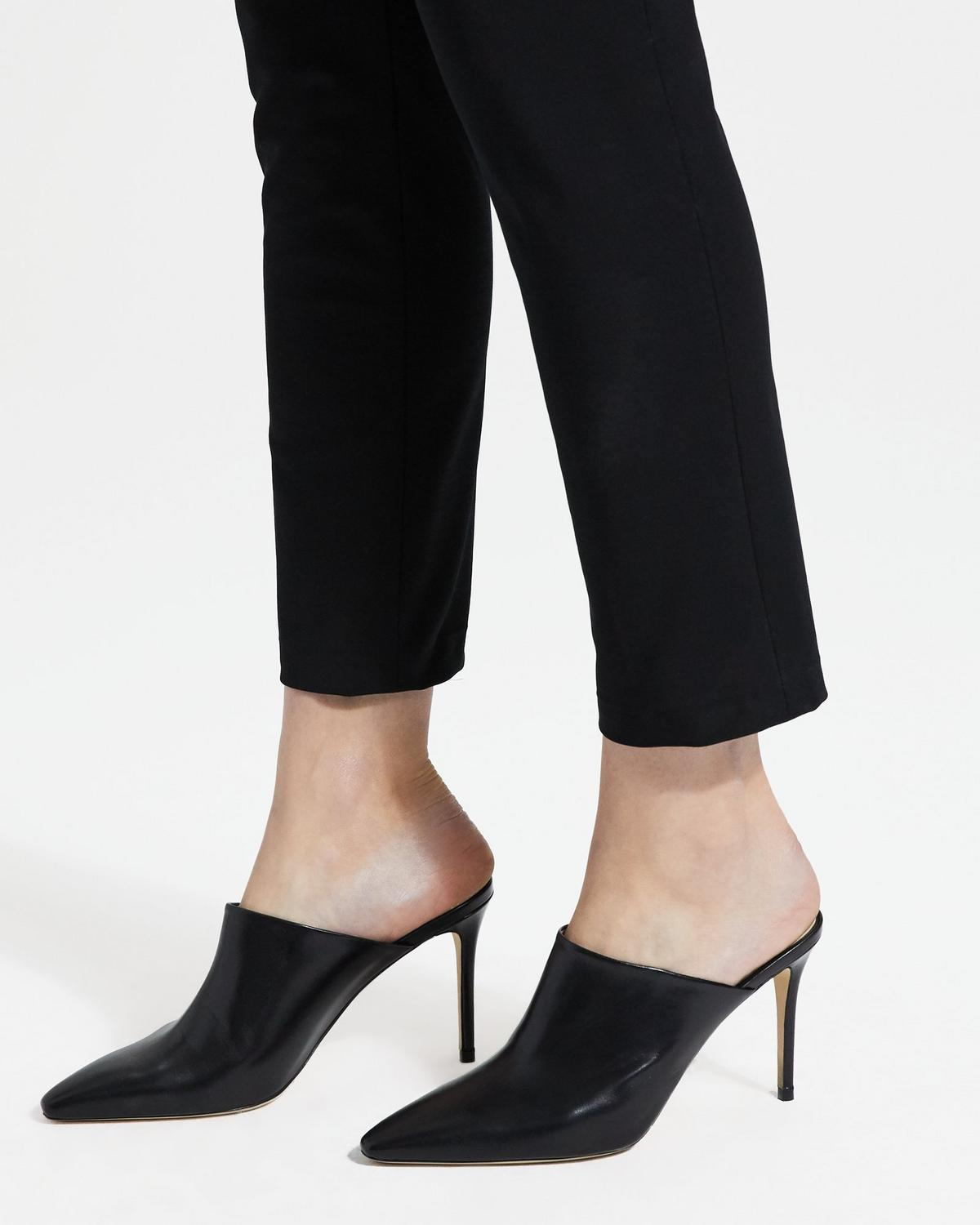 Leather High Heel Mule