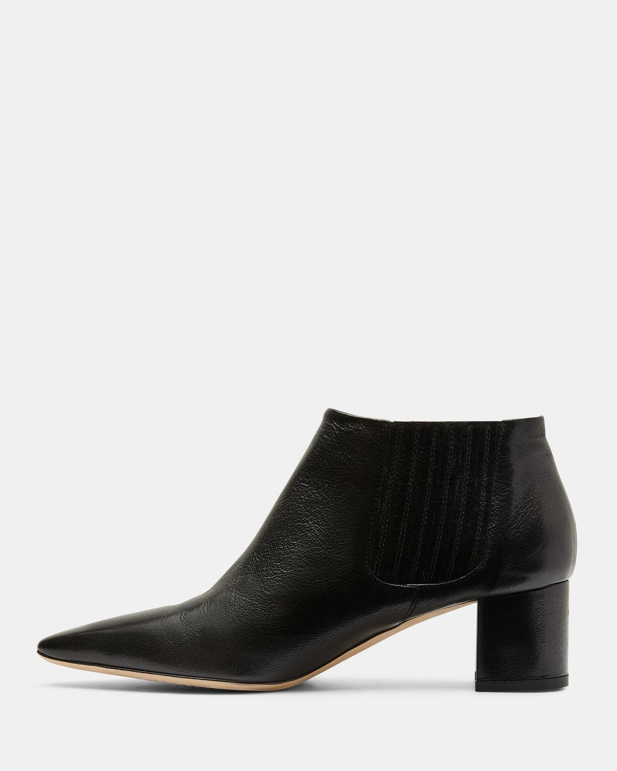 Leather Mid Heel Bootie