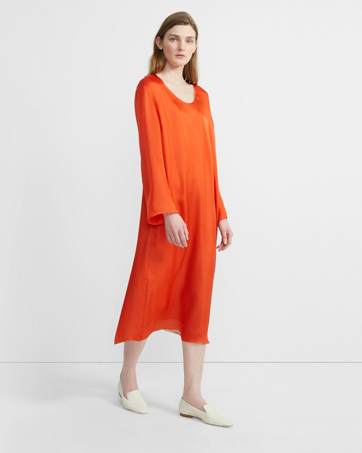 Silk Charmeuse Fluid Midi Dress