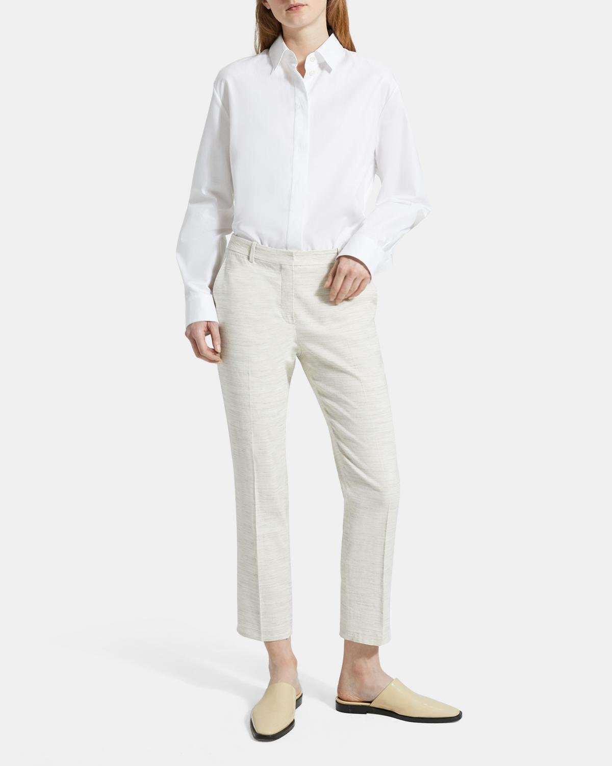 Sharkskin Crunch Cropped Tailored Trouser