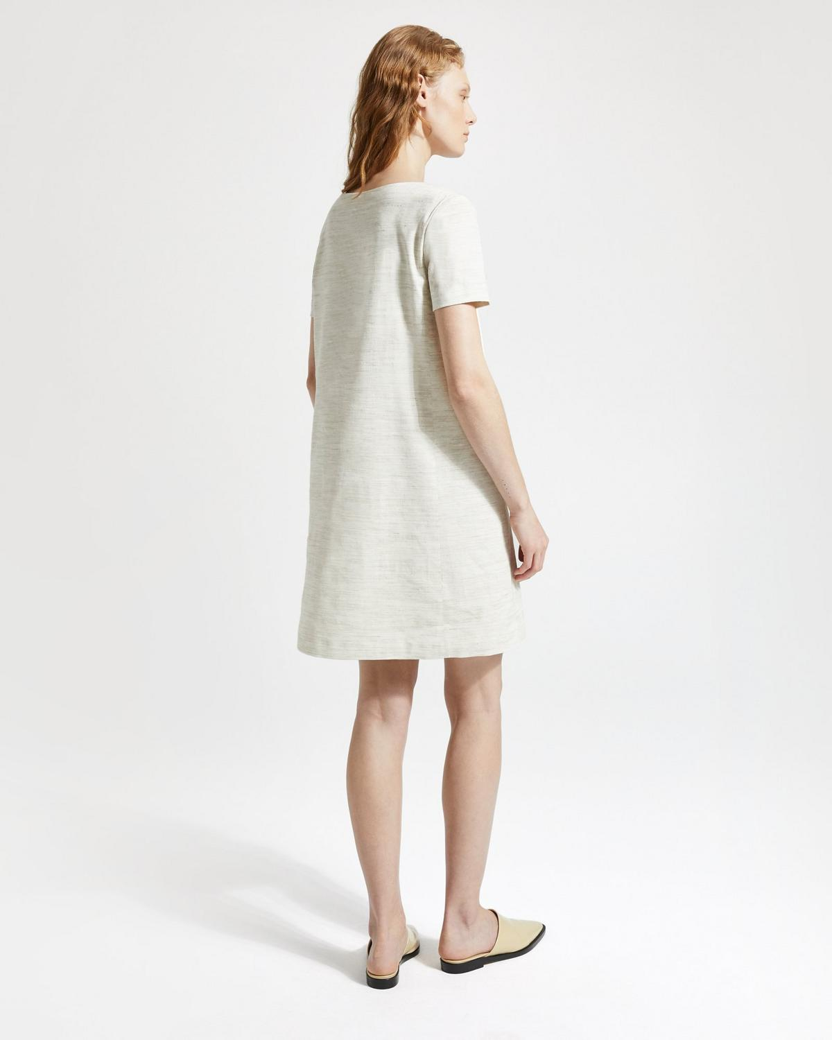 Sharkskin Crunch Panel Shift Dress
