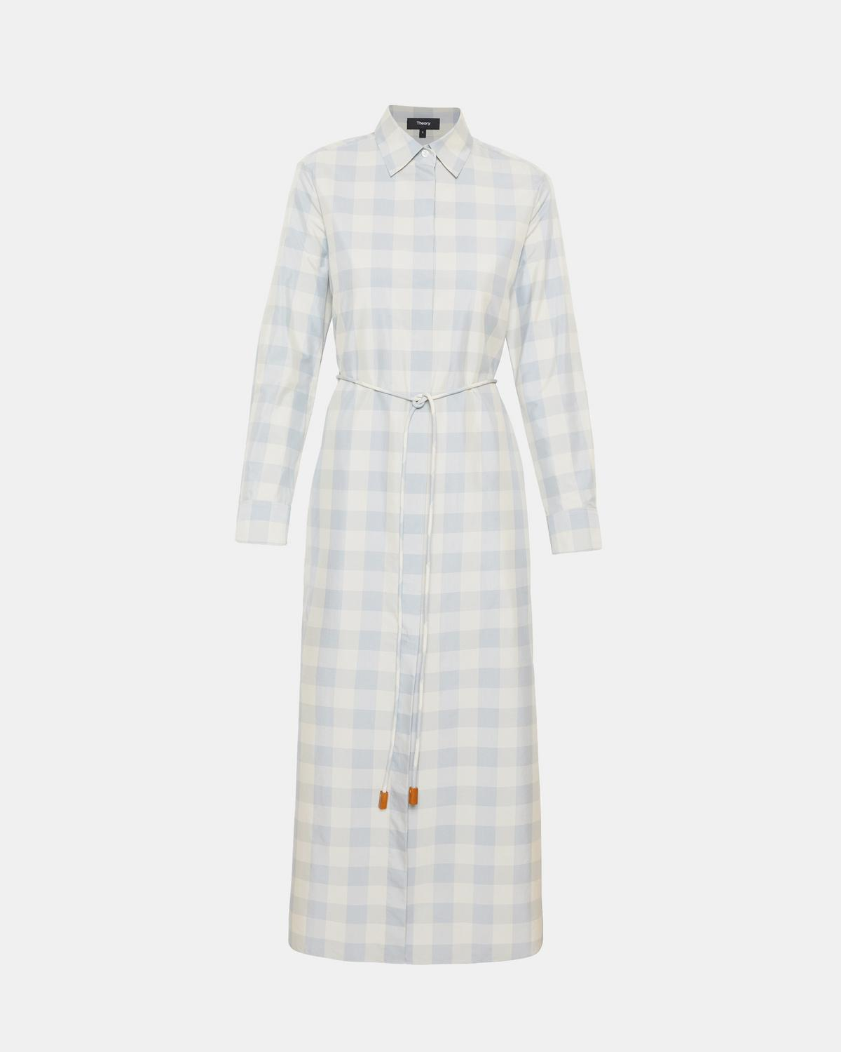 Check Belted Shirtdress