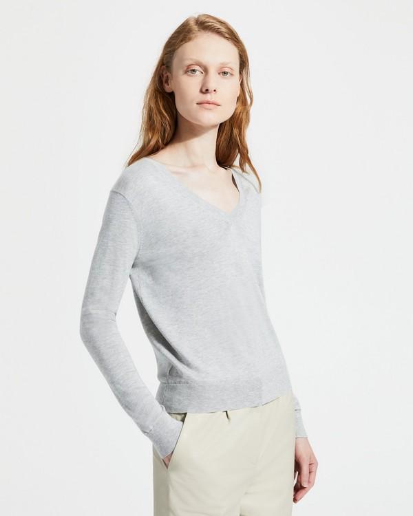 9e2811b50bd Silken Cotton V-Neck Pullover