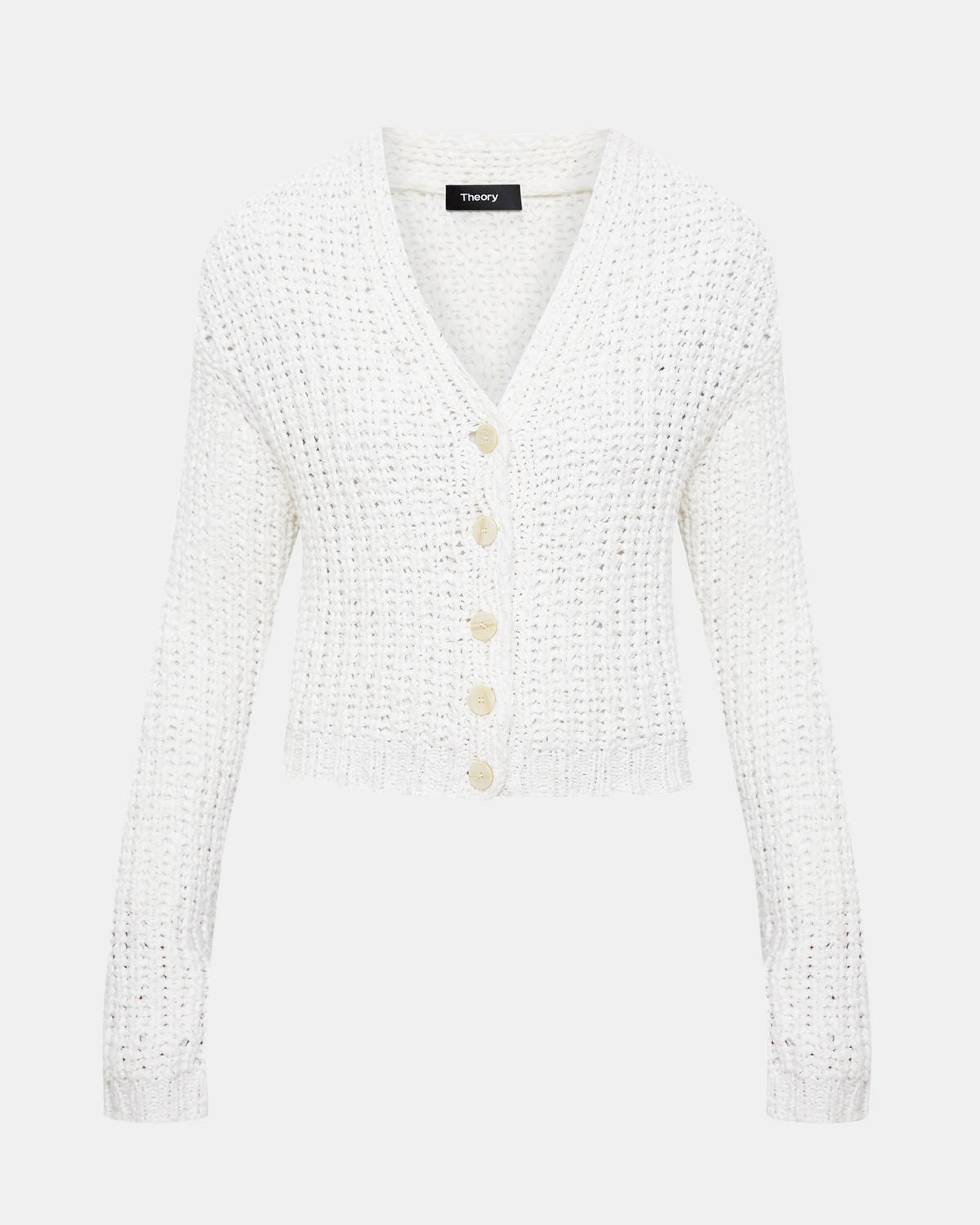 Cotton Nylon Ribbed Cardigan