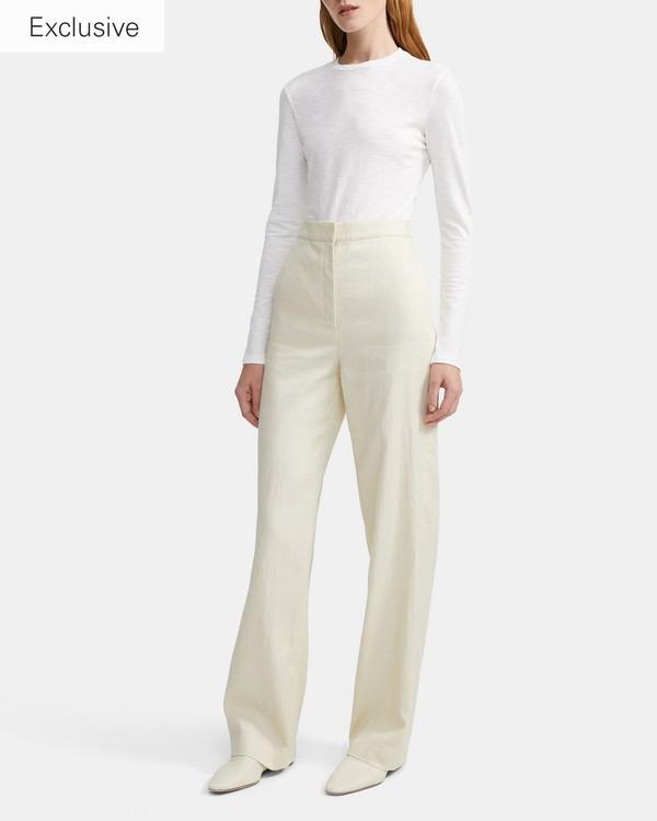 띠어리 오가닉 타이니 긴팔 티셔츠 Theory Organic Cotton Long-Sleeve Tiny Tee,WHITE