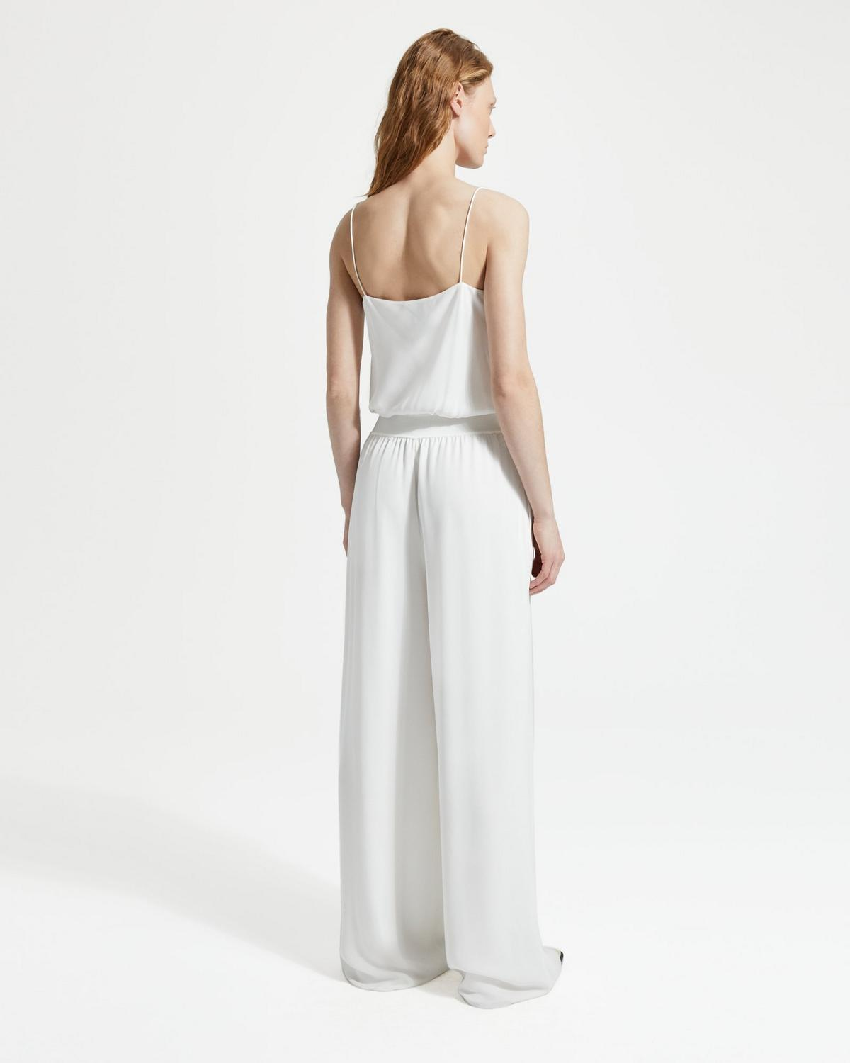 Silk Combo Ribbed-Waist Jumpsuit