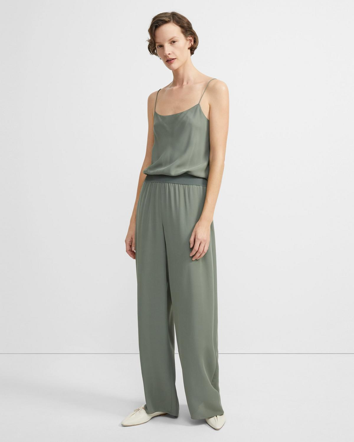 Ribbed-Waist Jumpsuit in Silk
