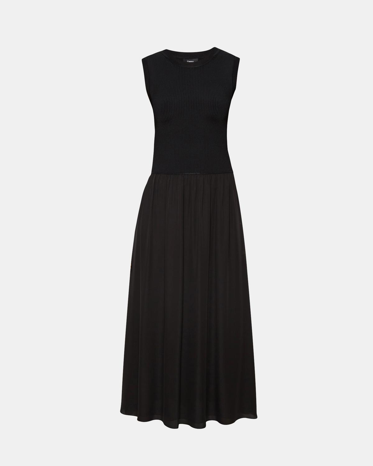 Silk Combo Ribbed-Waist Dress