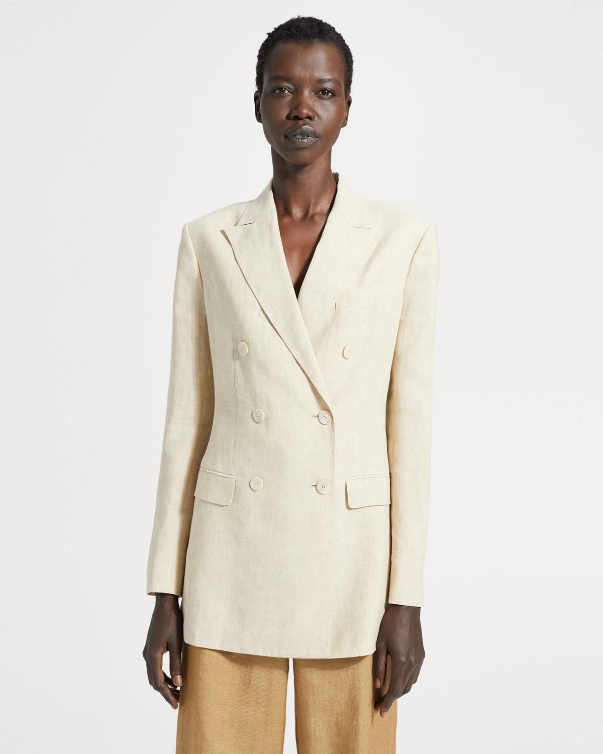 Pure Linen Double-Breasted Tailored Jacket