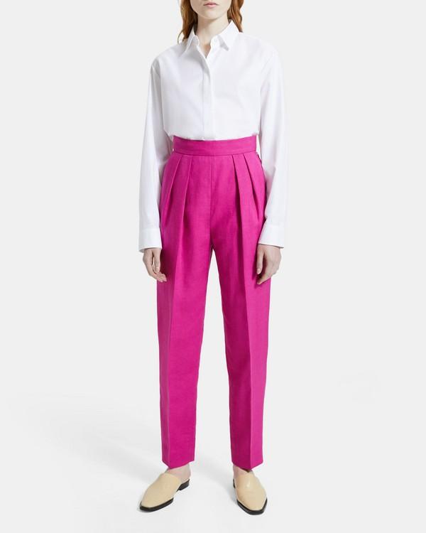 띠어리 플리츠 팬츠, 퓨어 린넨 - 팝 푸시아 (핑크) Theory Pleated Pant in Pure Linen