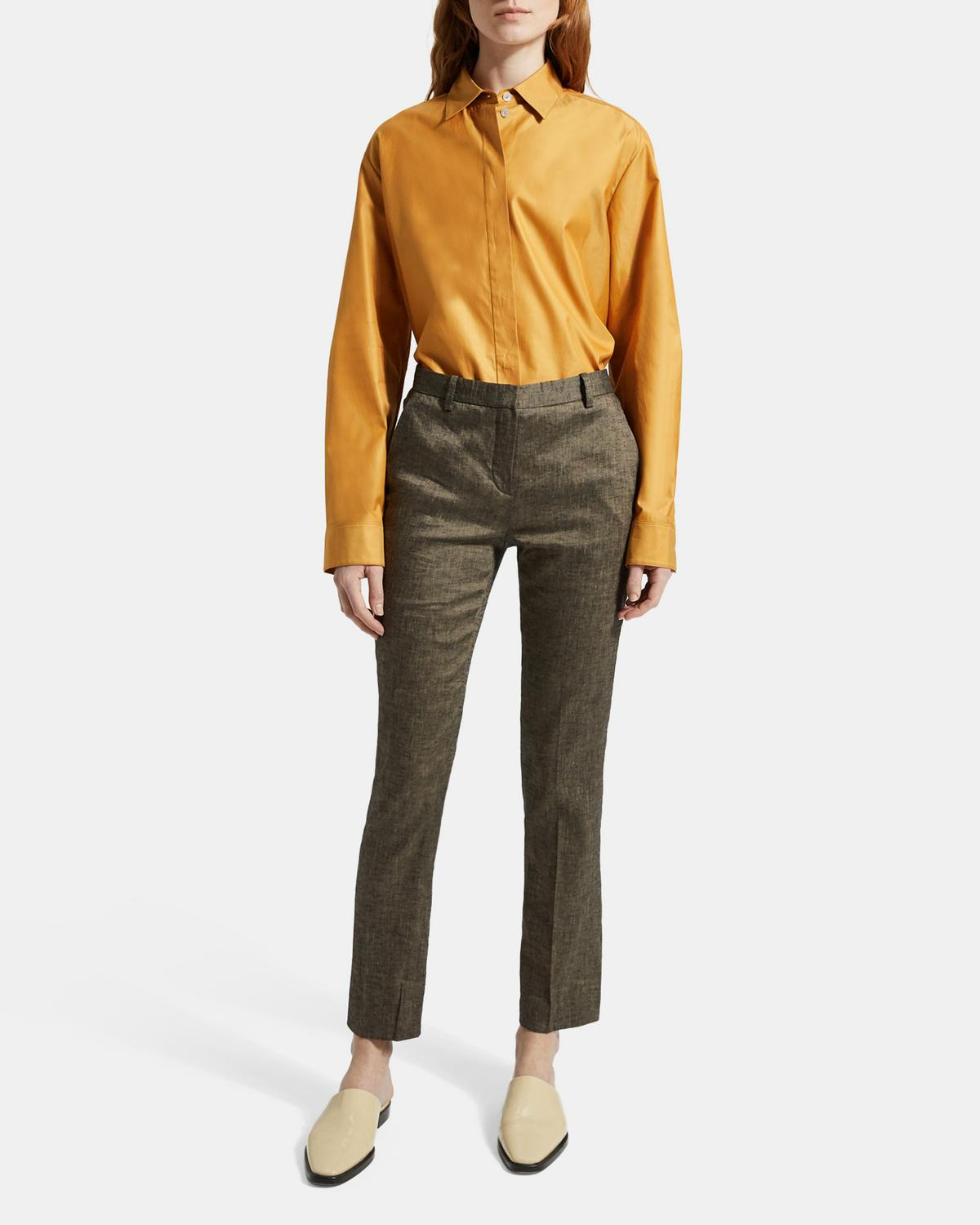 Treeca Full Length Pant in Textured Linen