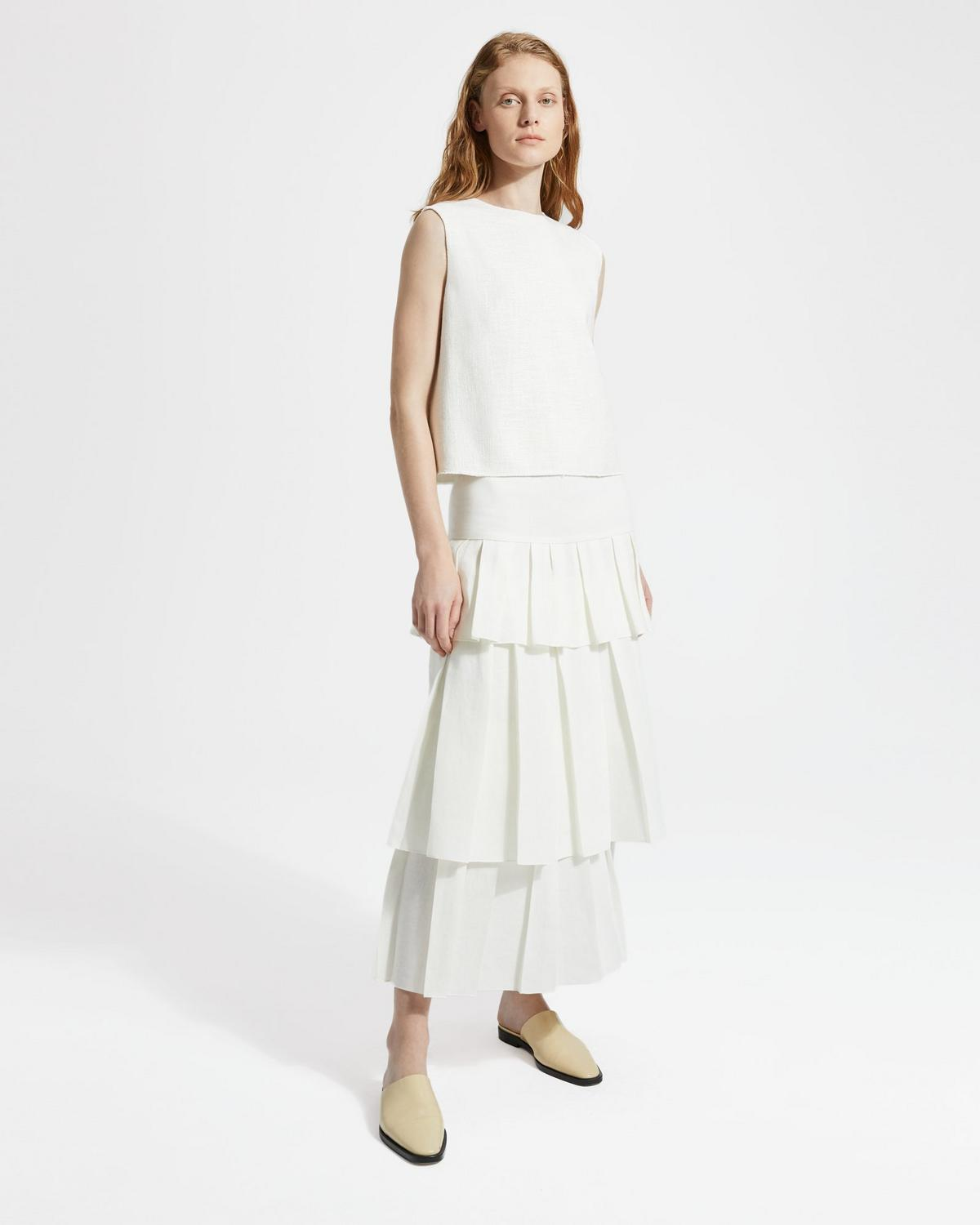 Pure Linen Tier Ruffle Skirt
