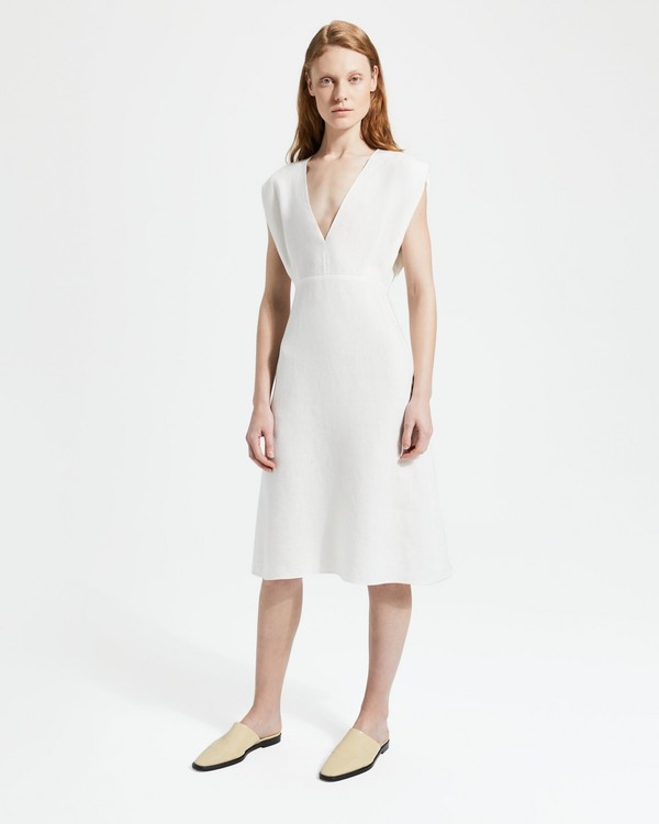Pure Linen Deep V Easy Midi Dress 10697d4ba