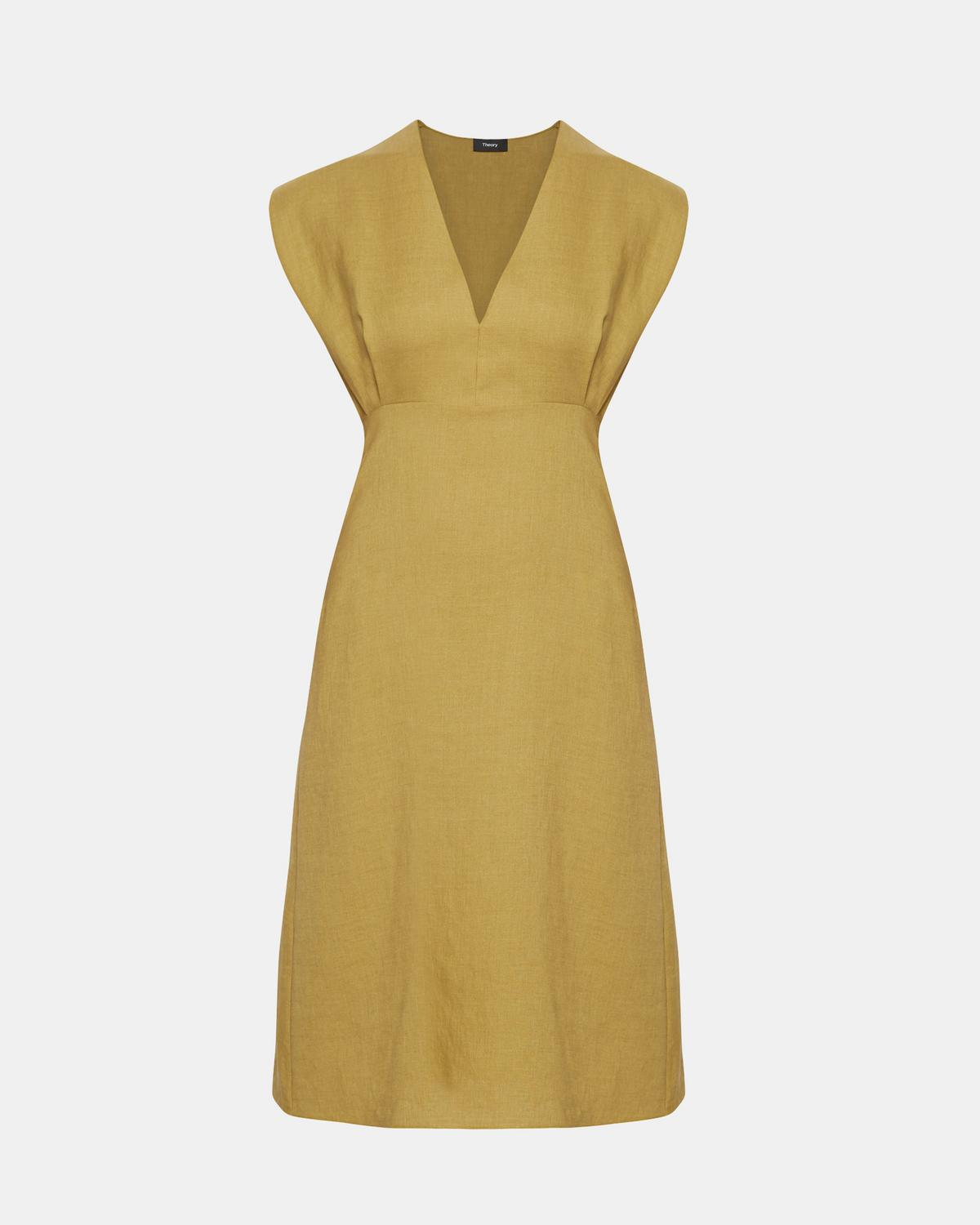 Pure Linen Deep V Easy Midi Dress