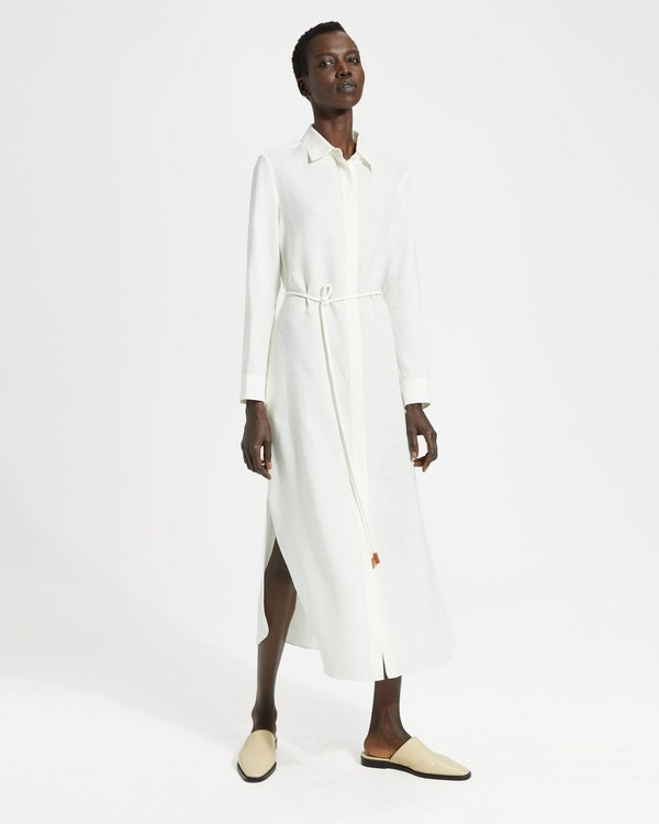 188c66dc4e0 Pure Linen Belted Shirtdress