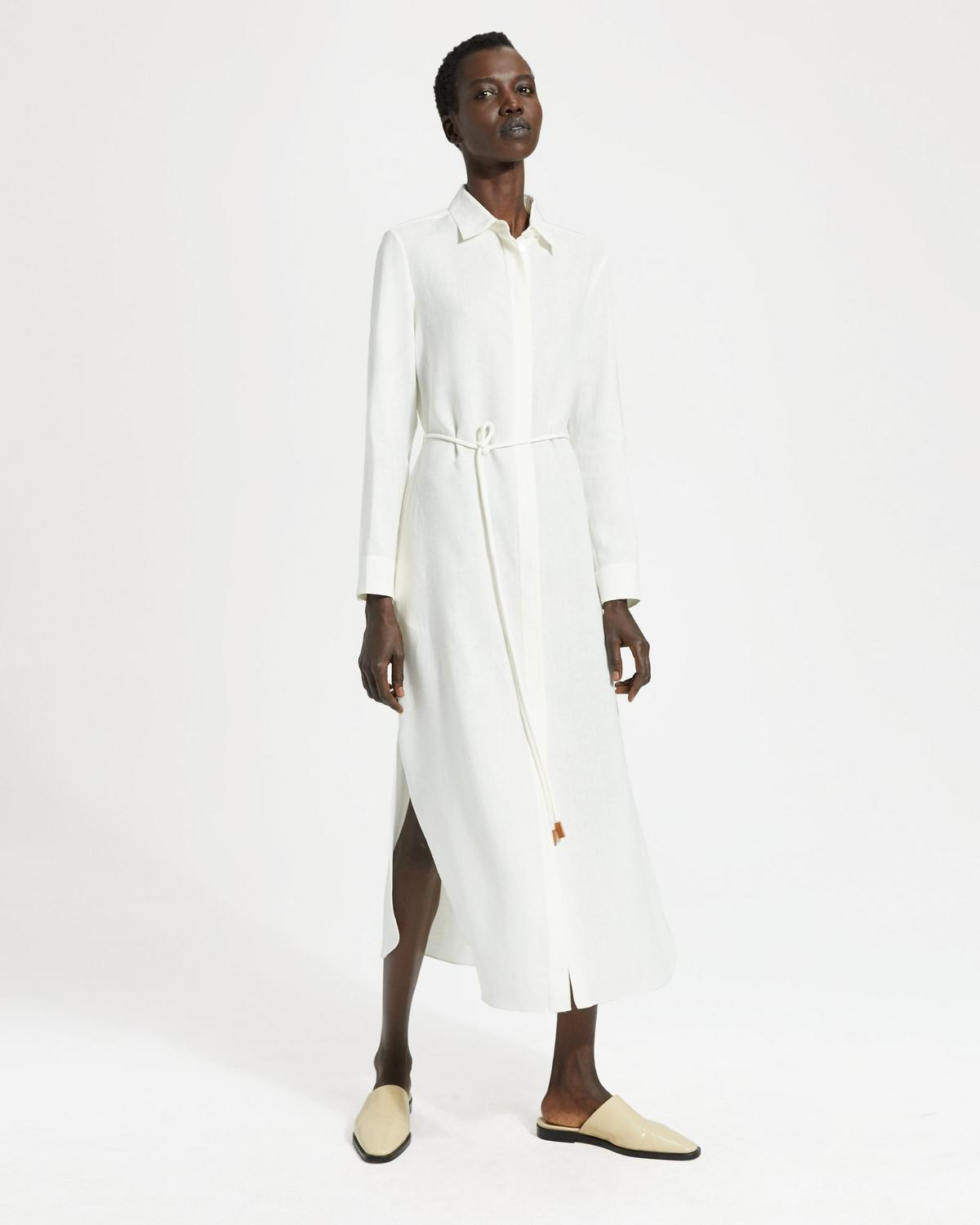 Pure Linen Belted Shirtdress