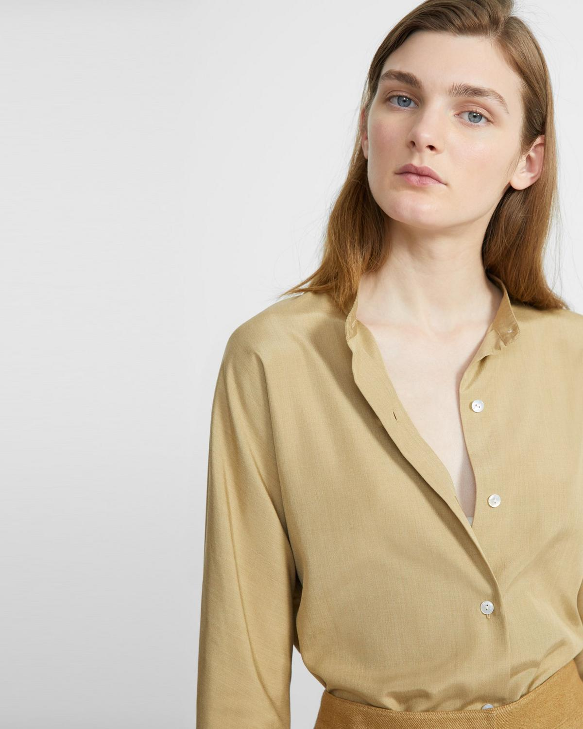 Sanded Silk Dolman Long-Sleeve Shirt