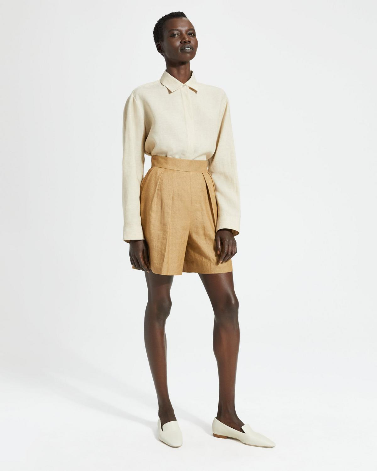 Luxe Linen Pleated Short