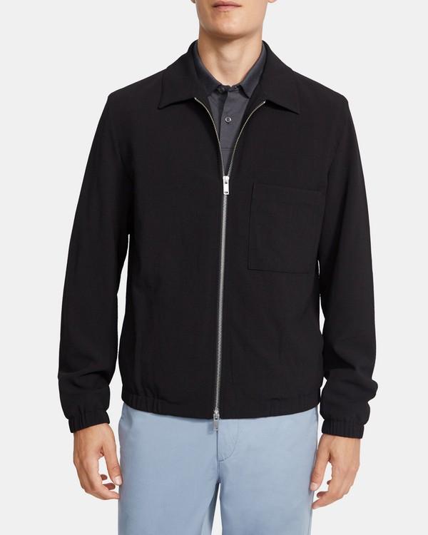 띠어리 맨 웨이슬리 자켓 Theory Weissly Jacket in Seersucker Stretch Wool,BLACK