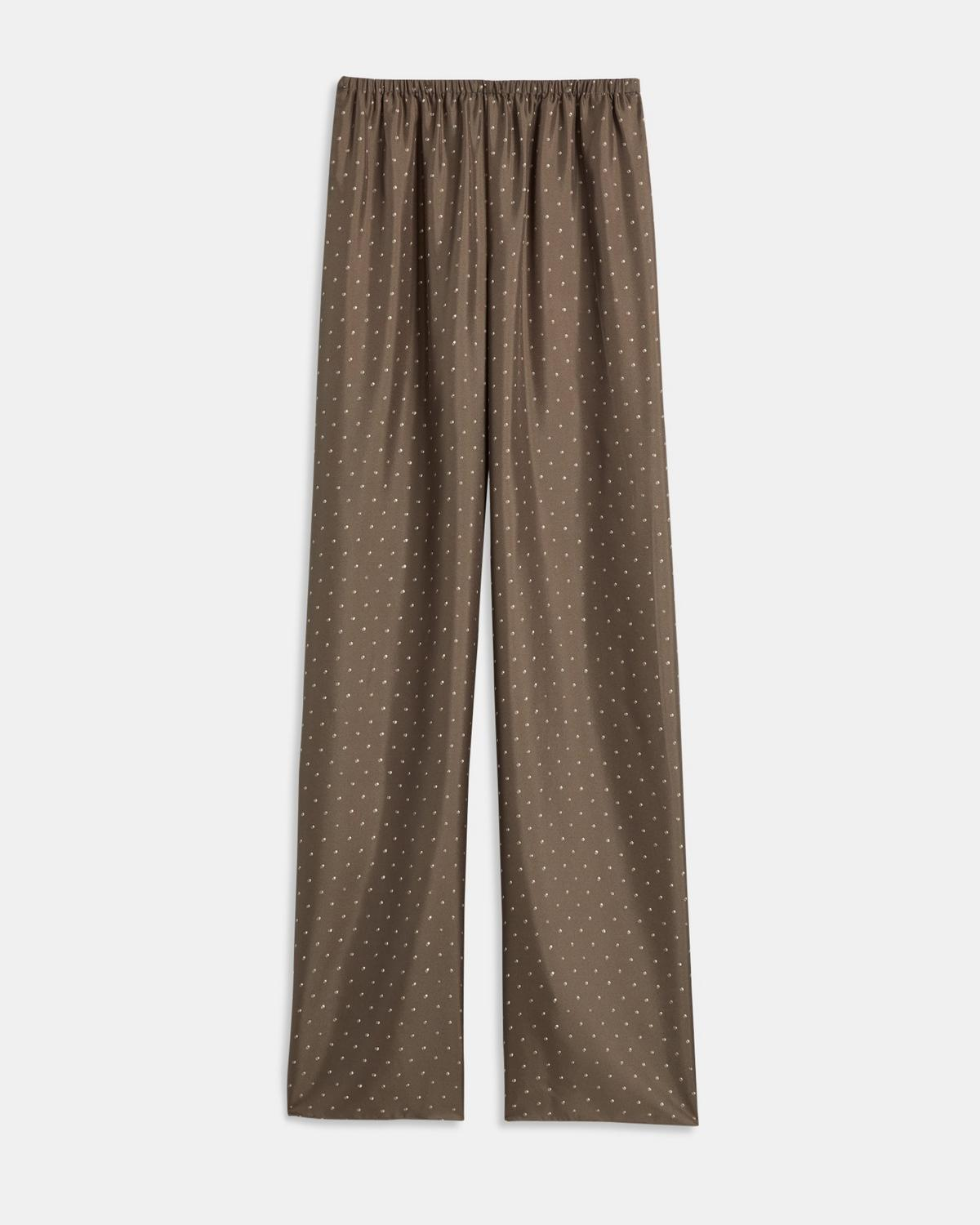 Dotted Silk Pull-On Trouser