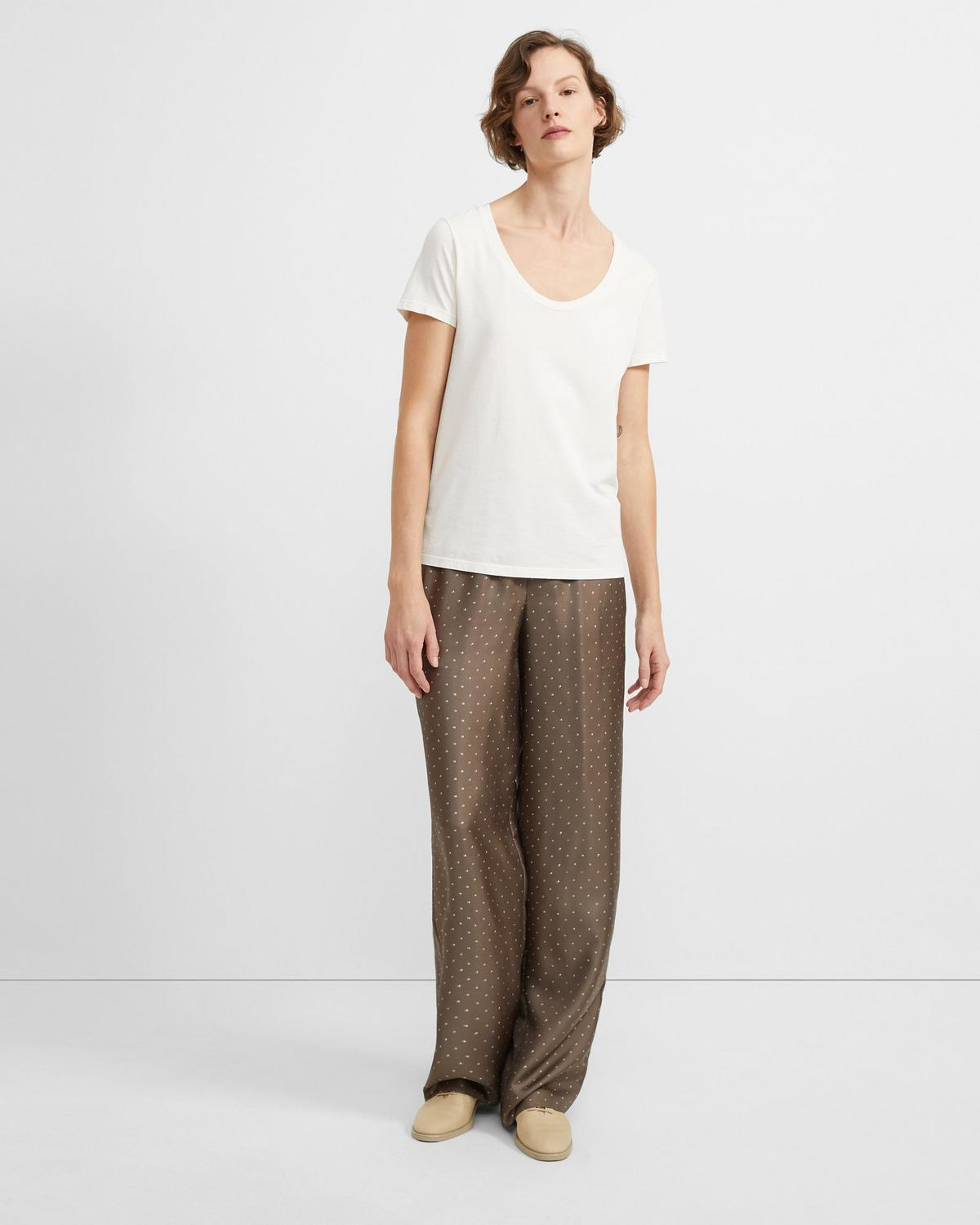 Dotted Silk Pull-On Pant