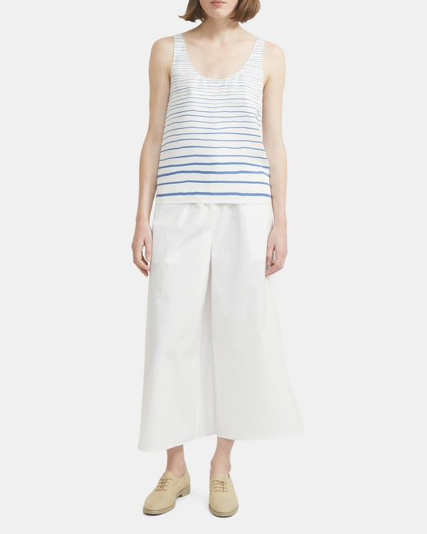 띠어리 스큽넥 스트라이프 실크 탑 - 블루 Theory Scoop Neck Tank Top in Striped Silk