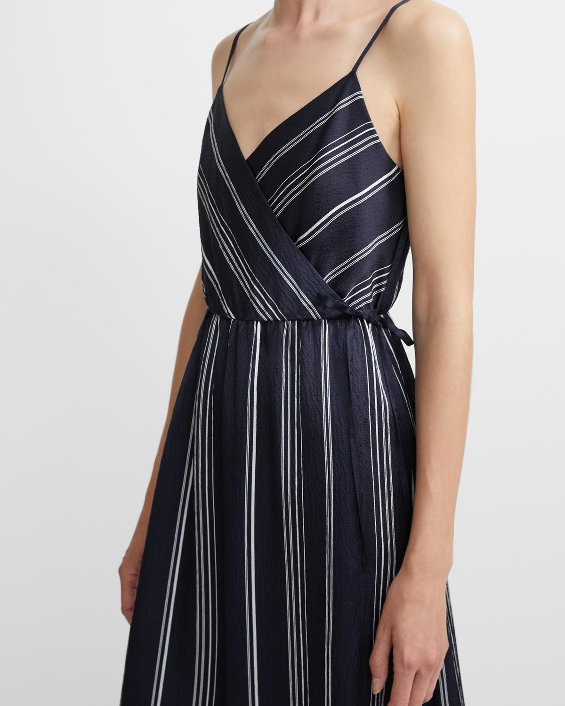 b0a7cb7101 Hammered Stripe Spaghetti Wrap Dress