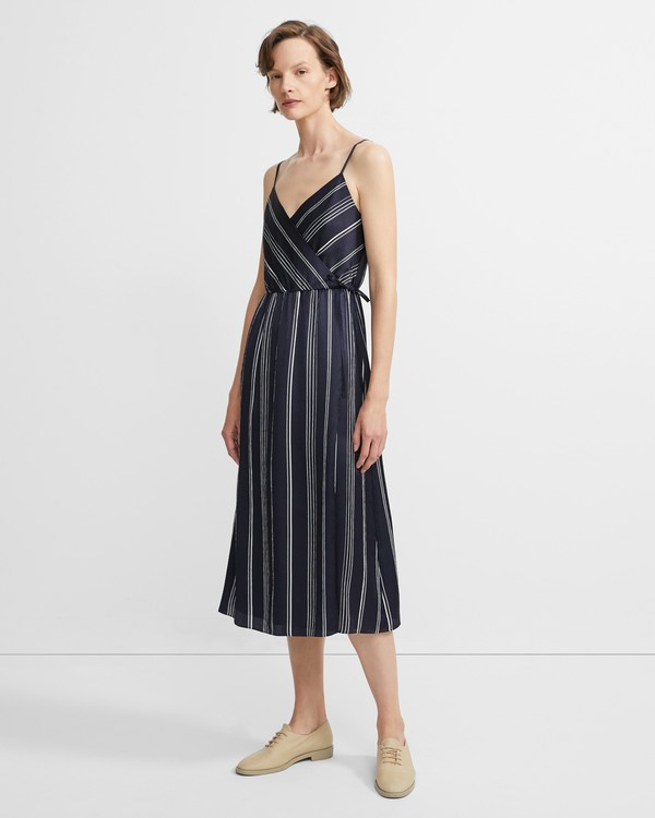 e16e35b6a95b Hammered Stripe Spaghetti Wrap Dress