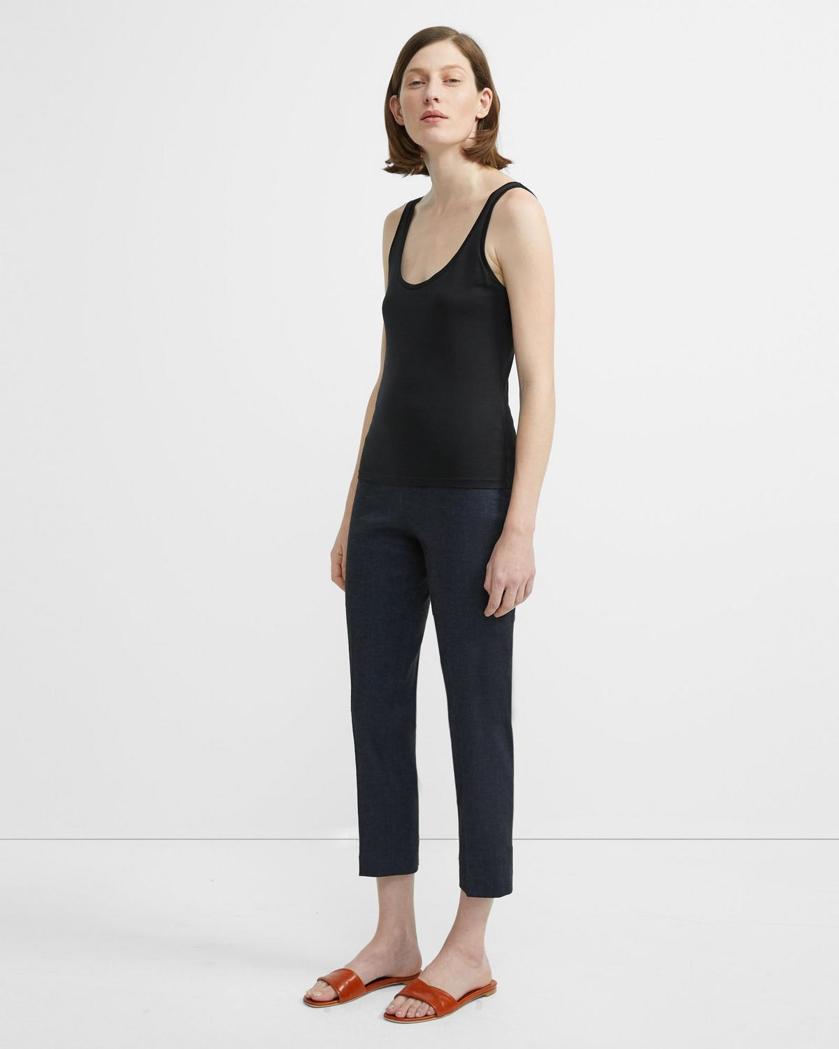 Textured Good Linen Basic Pull-On Pant