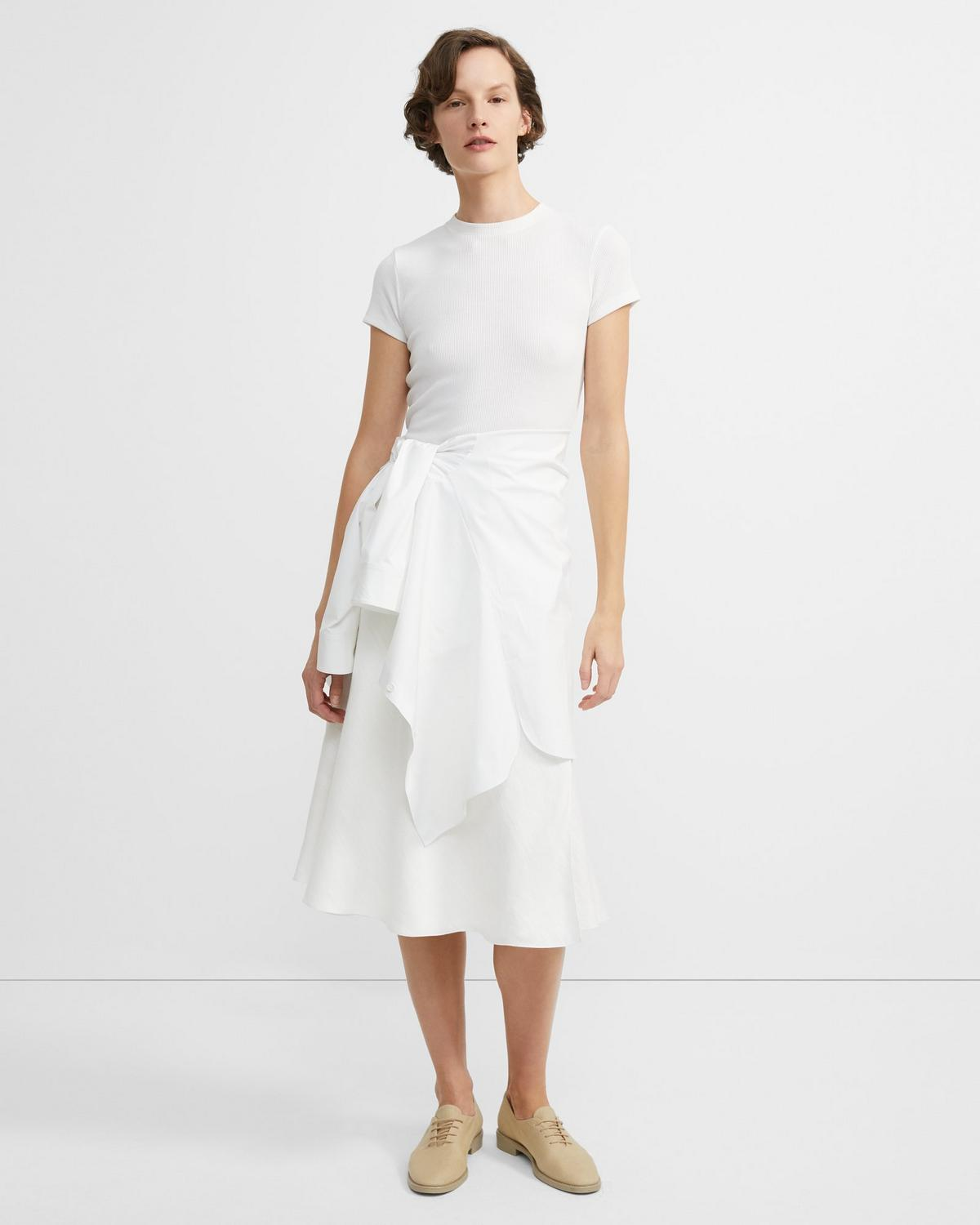 Herringbone Linen Faux Wrap Skirt