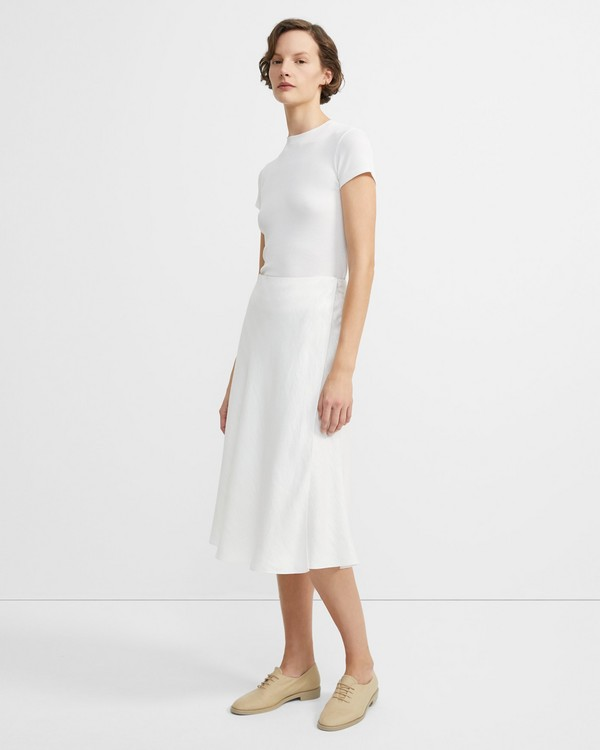 6d6e321fe Herringbone Linen Faux Wrap Skirt