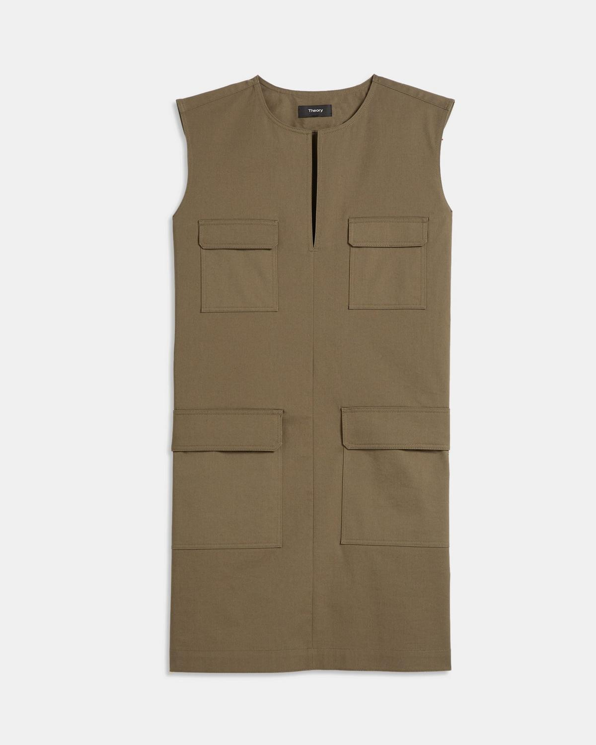 Utilitarian Dress in Stretch Chino