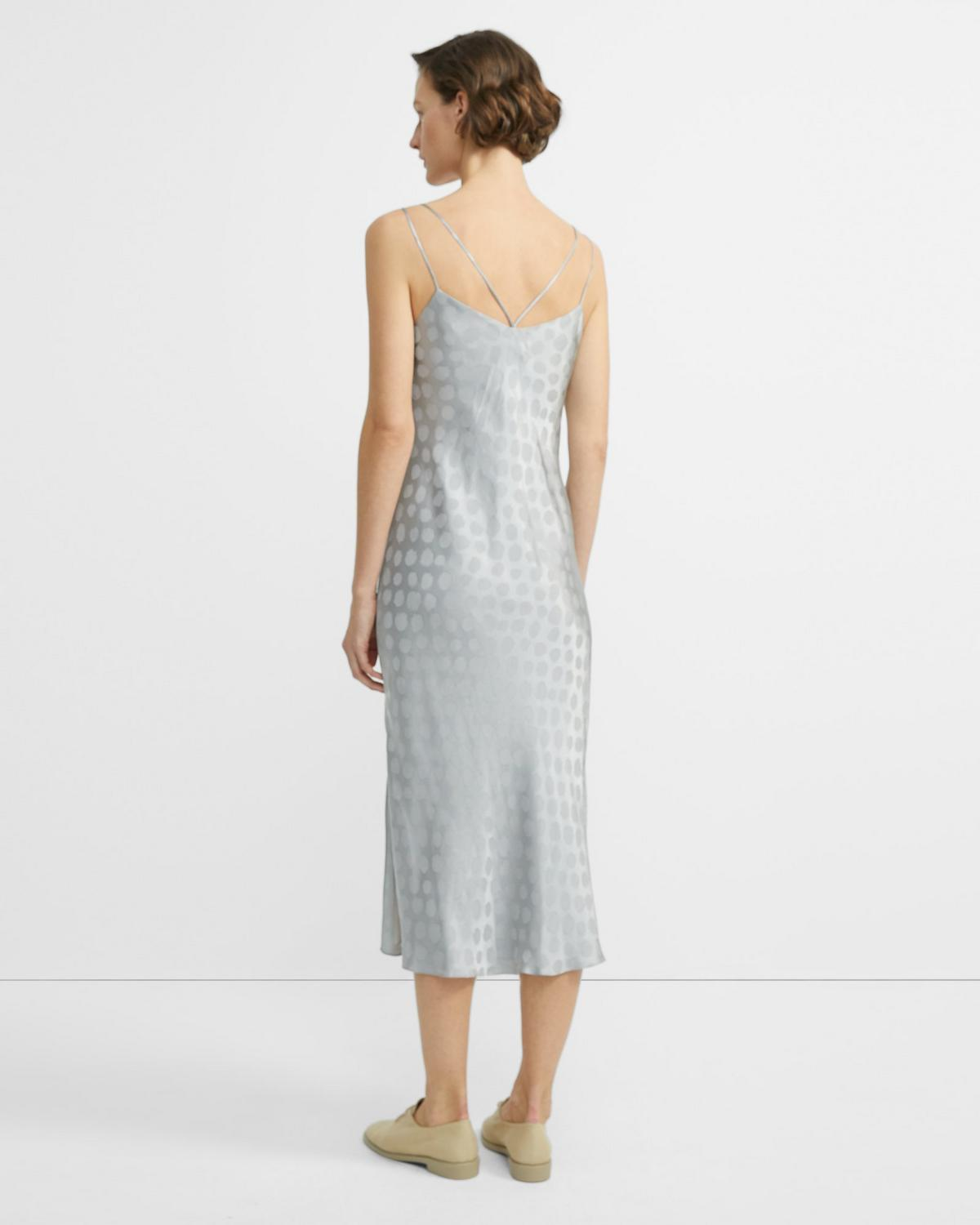 Brushed Dot Jacquard Double-Strap Dress