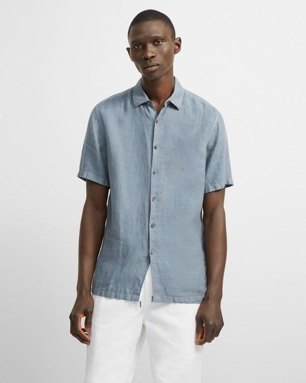 띠어리 맨 셔츠 Theory Irving Short-Sleeve Shirt in Summer Linen