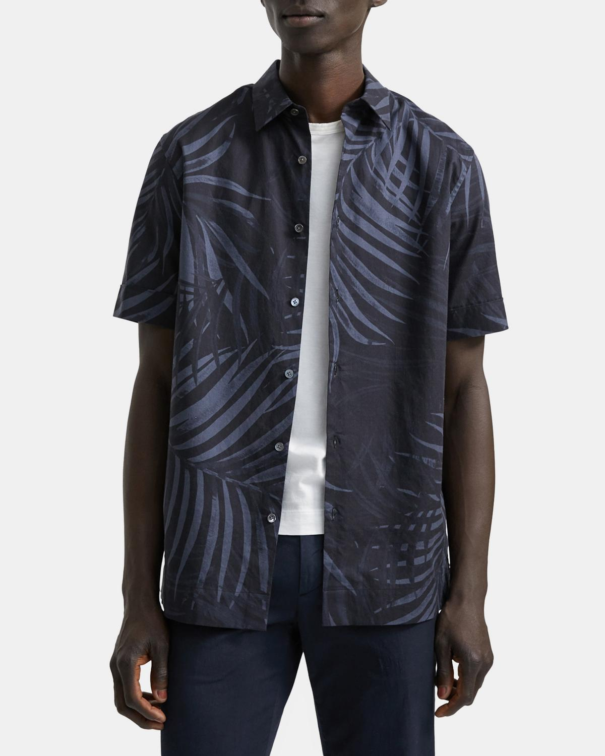 Menlo Short-Sleeve Shirt in Palm Print Stretch Cotton