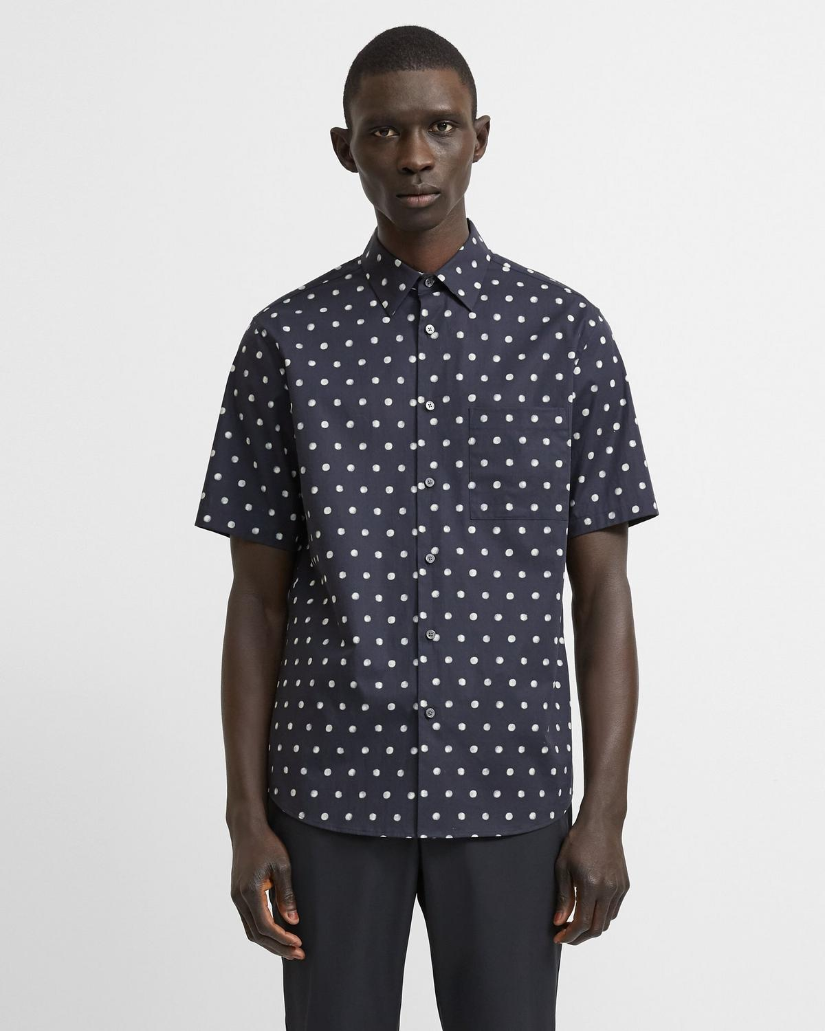 Menlo Short-Sleeve Shirt in Polka Dot Stretch Cotton