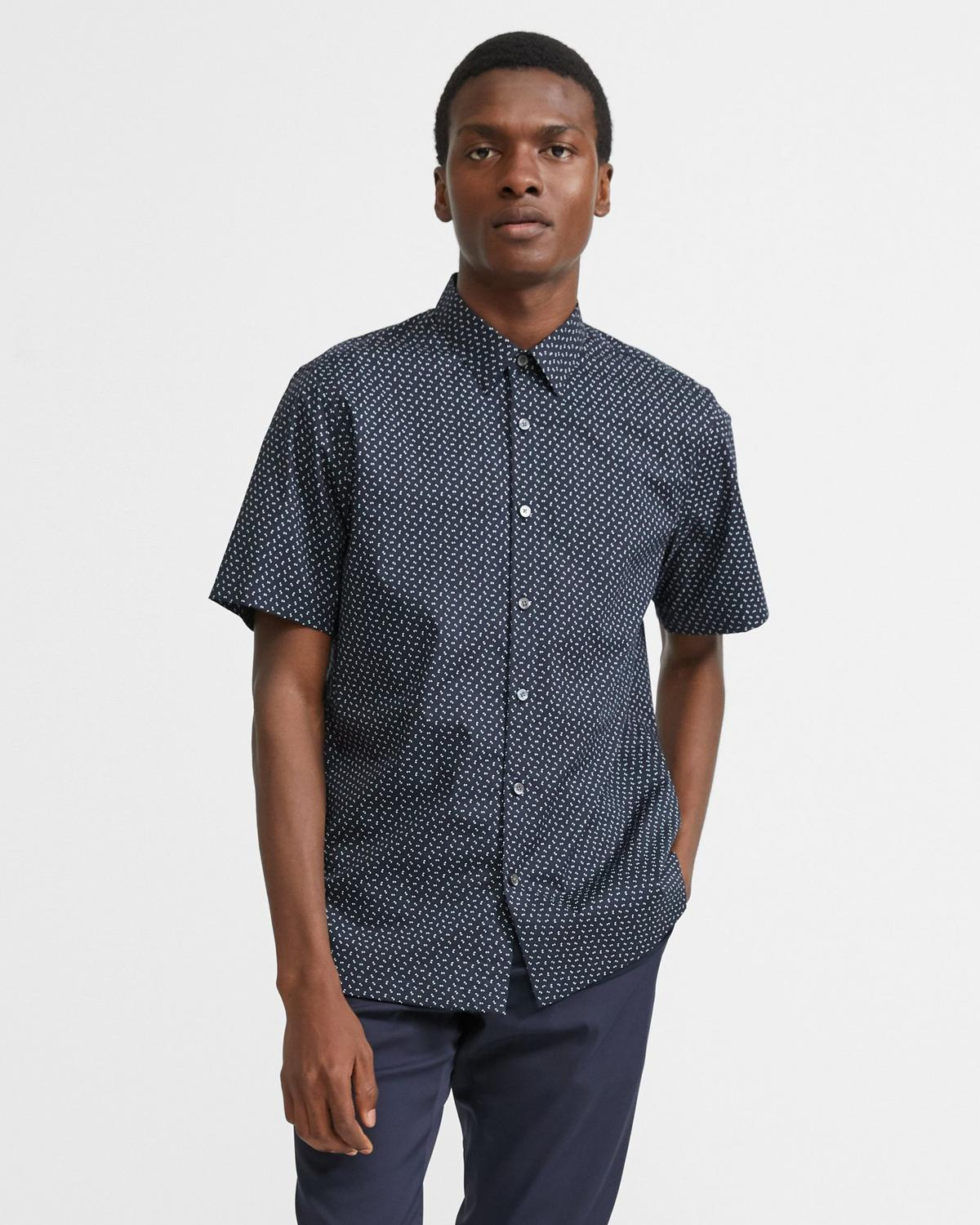 Irving Short-Sleeve Shirt in Printed Stretch Cotton