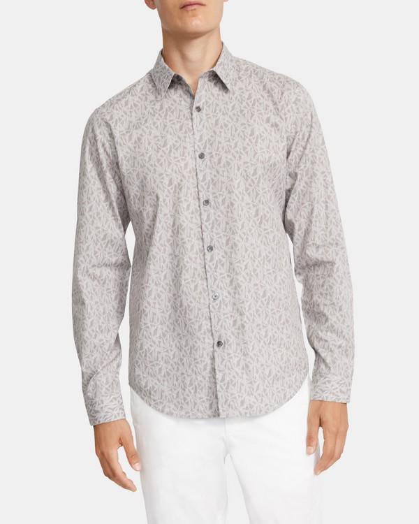 띠어리 맨 어빙 셔츠 Theory Irving Shirt in Leaf Print Cotton-Viscose,GREY MULTI