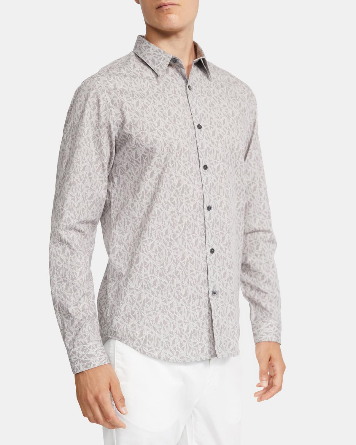 Standard-Fit Shirt in Leaf Print Cotton-Viscose