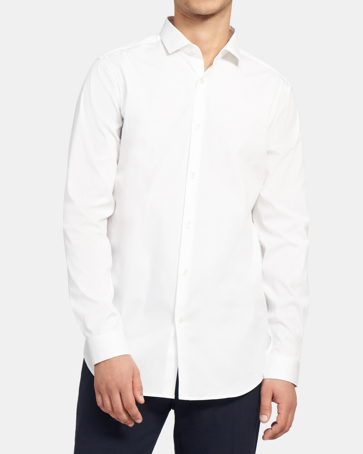 Slim-Fit Striped Clean Placket Shirt