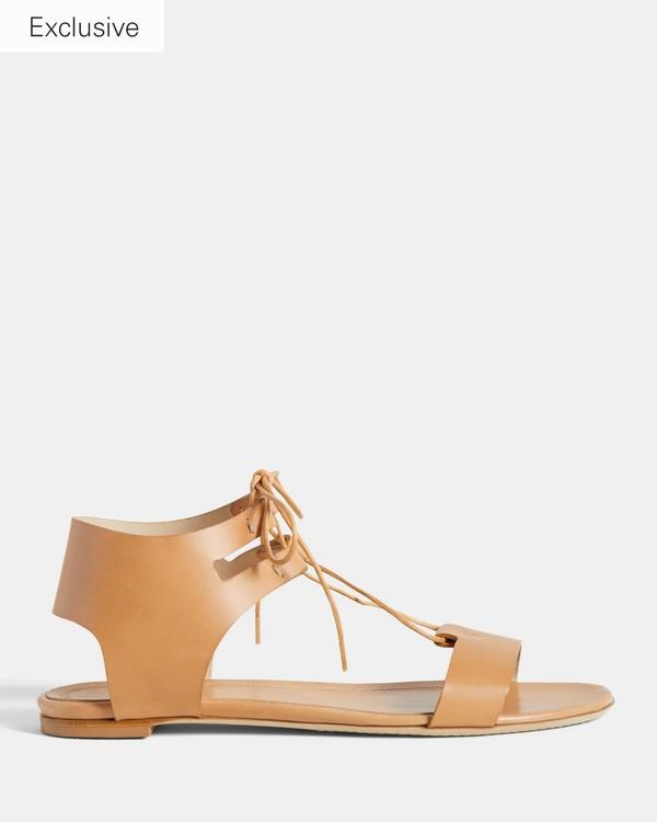 띠어리 레이스드 가죽 샌들 Theory Laced Sandal in Leather,NATURAL