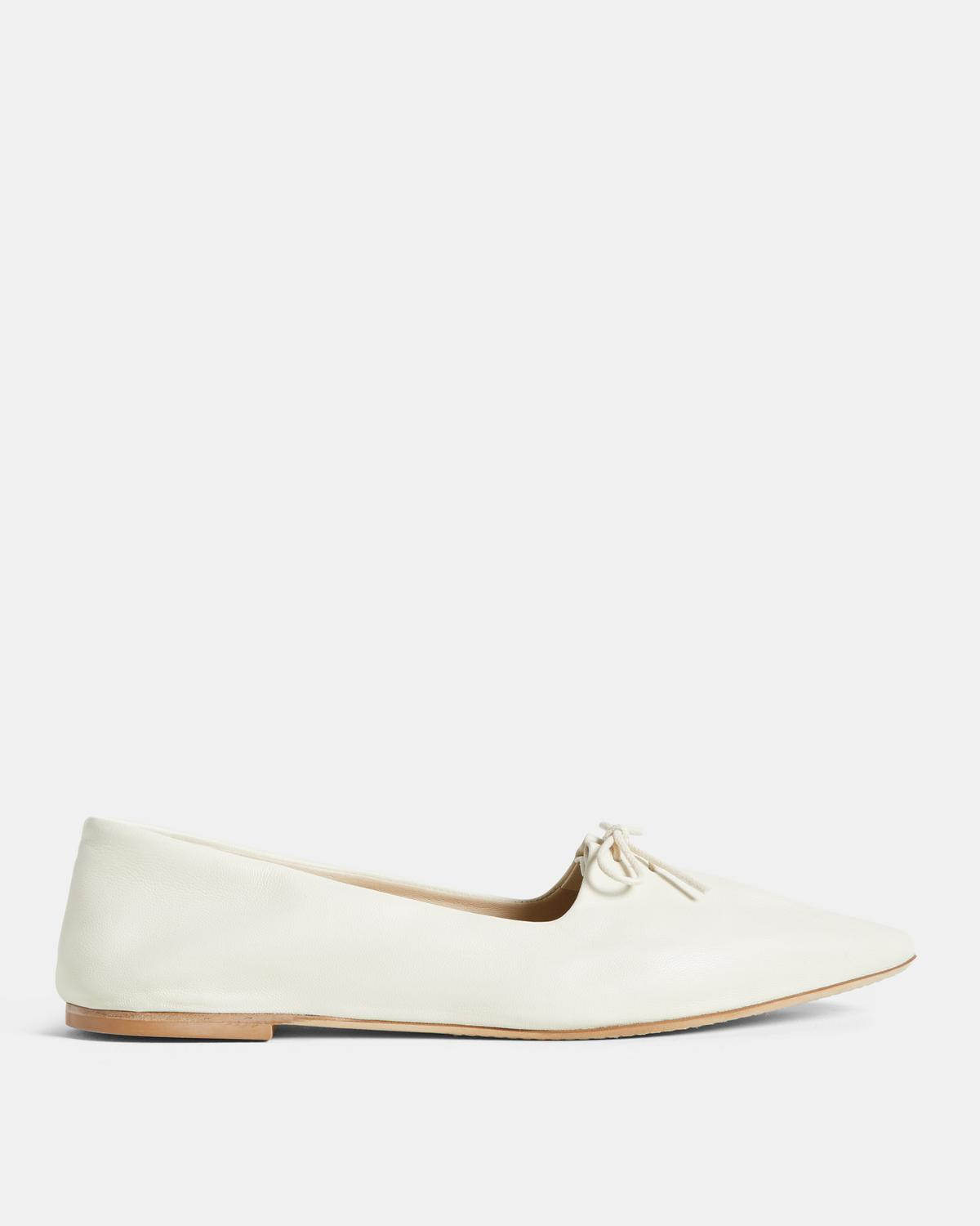 Leather Pleated Ballet Flat