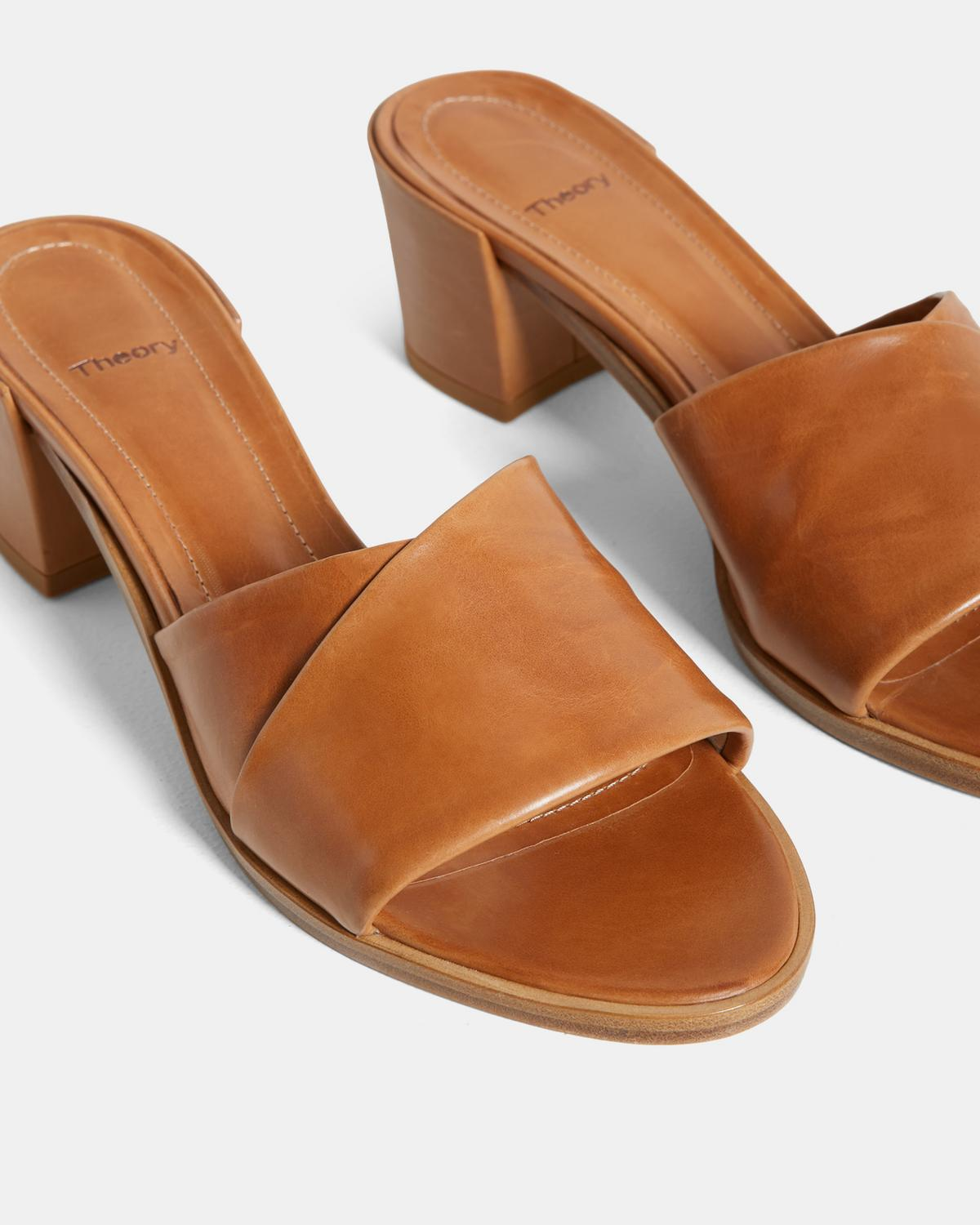 Folded Mid-Heel Slide in Leather