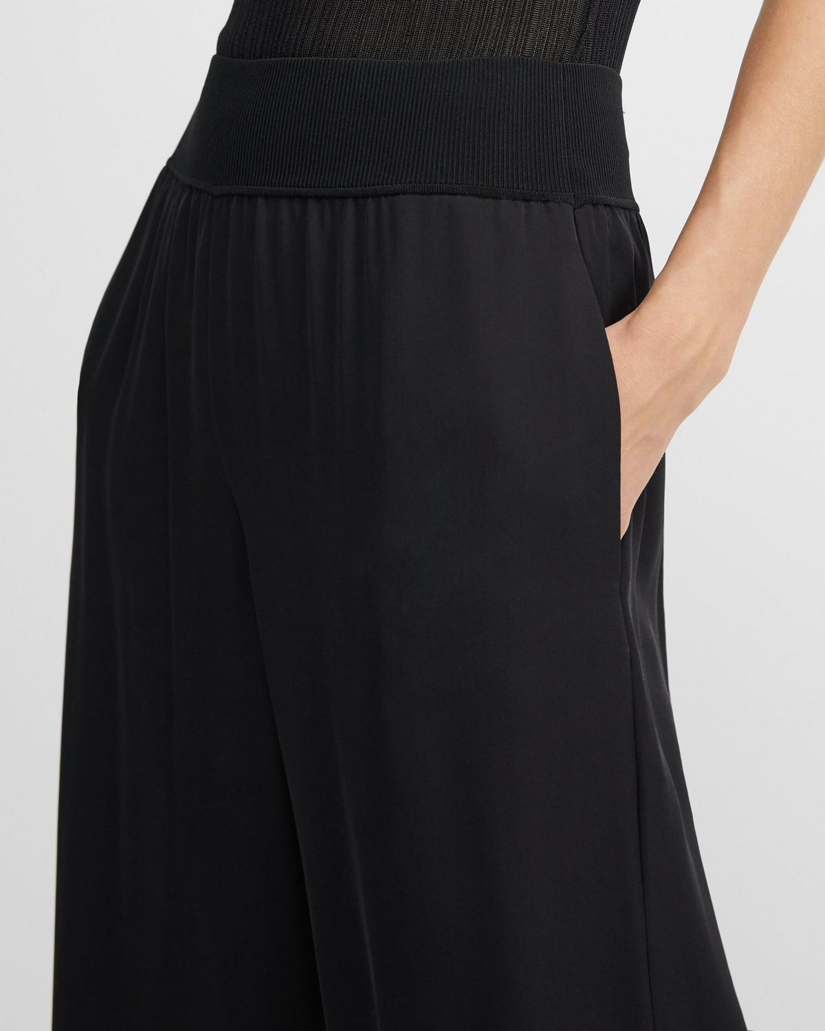 Ribbed Waist Wide Pant in Silk