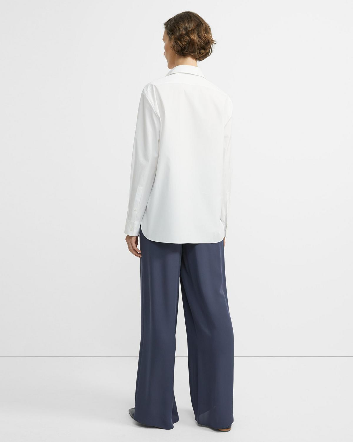 Ribbed-Waist Wide-Leg Pant