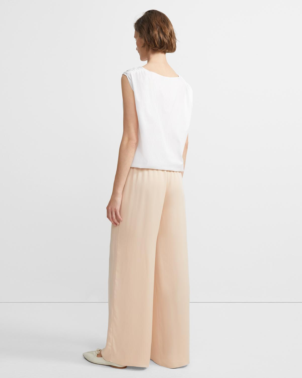 Ribbed-Waist Wide-Leg Trouser
